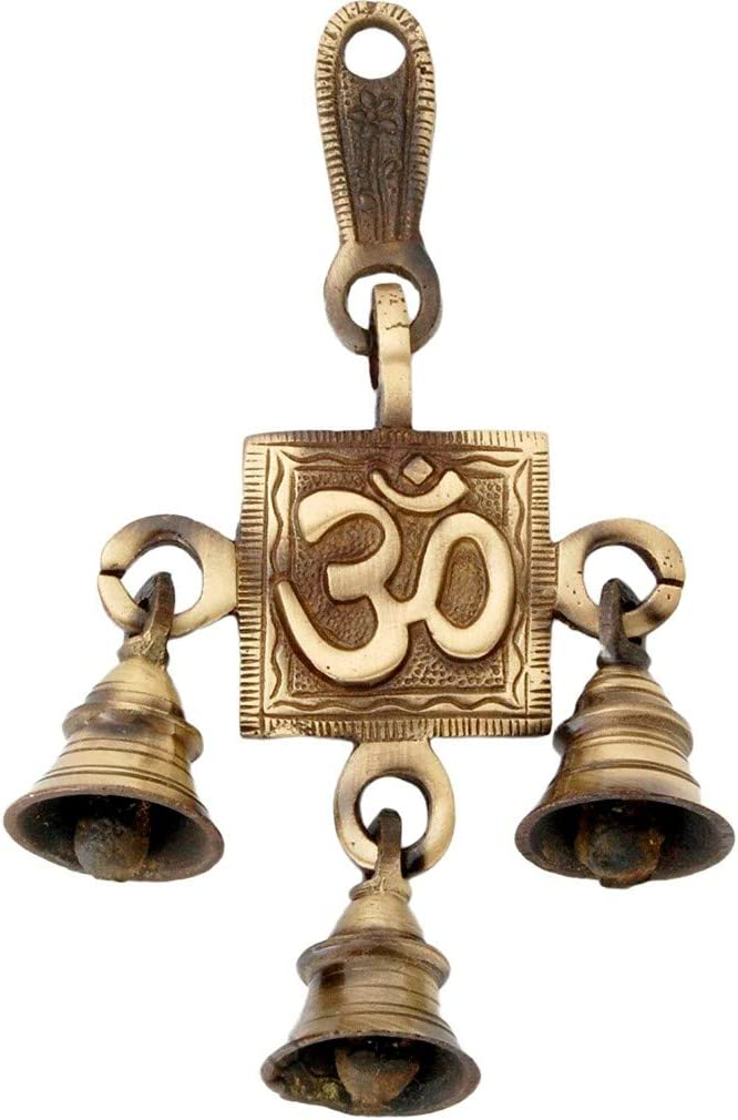athizay OM Wall Sculpture for Home Decor Brass AUM Door Hangings Decorative Bell (Gold, Brass)