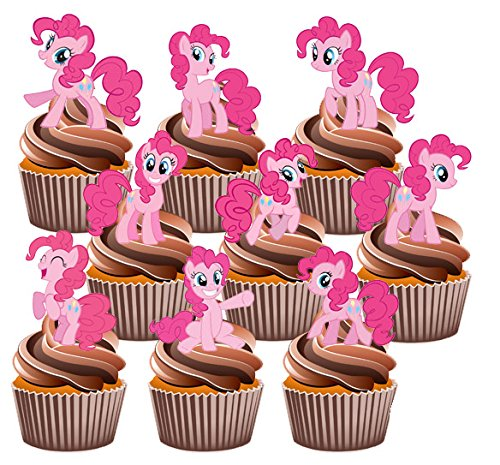 AKGifts My Little Pony Pinkie Pie Cake Decorations - 12 Edible Stand-up Cupcake Toppers (7 - 10 BUSINESS DAYS DELIVERY FROM (Pinkie Pie Cupcakes)
