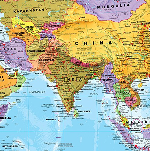 Giant World MegaMap - Large Wall Map Poster - Paper with front sheet lamination - 77.95 x 48.03 inches by Maps International (Image #4)