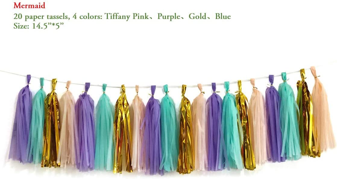 24 PCS Originals Group Purple Lavender Lilac White Shinny Purple Tissue Paper Tassels for Party Wedding Gold Garland Bunting Pom Pom /…