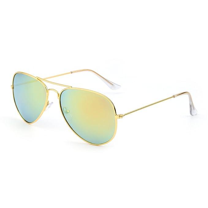 e02f81f83b JM Gafas de Sol de Espejo Retro Aviador Lentes Teñido Brillantes Anteojos  Para Mujer Hombre UV400