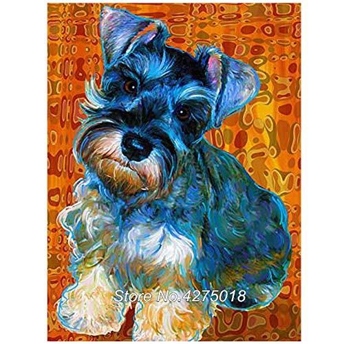 (HSQMA 5D DIY Diamond Embroidery Schnauzer Dog Square Rhinestone Sets 5D Diamond Painting Cross Stitch Wall Decor)