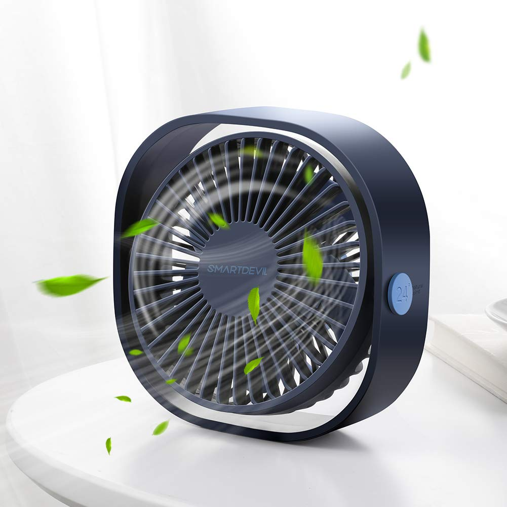 SmartDevil Small Personal USB Desk Fan,3 Speeds Portable Desktop Table Cooling Fan Powered by USB,Strong Wind,Quiet Operation,for Home Office Car Outdoor Travel (Navy Blue) by SmartDevil