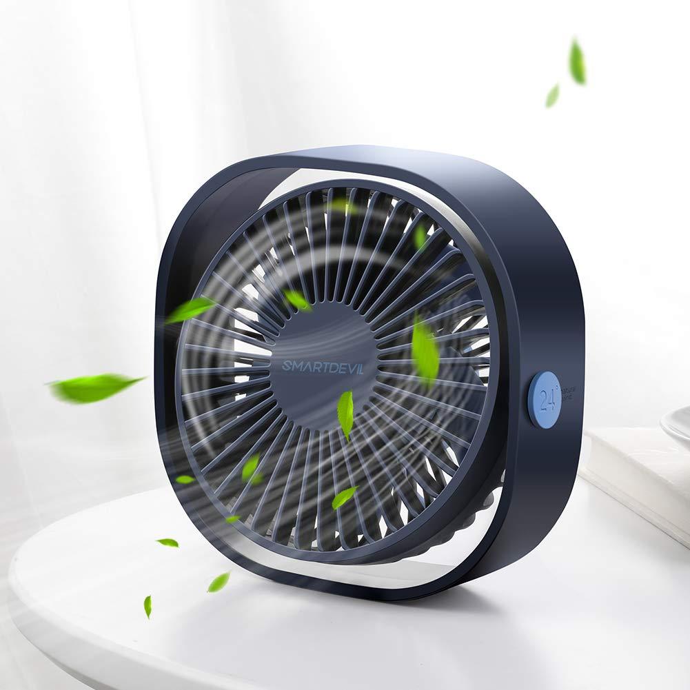 Ventilador de escritorio USB, 3 niveles, ajustable 360°