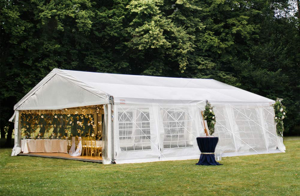 Decors-A 16' x 32' Heavy Duty Carport Outdoor Wedding Party Tents Canopy Garage Tent Shelter w/Peak Top & Removable Sidewalls, White