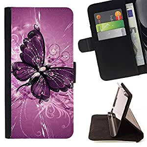For Samsung Galaxy S3 Mini I8190Samsung Galaxy S3 Mini I8190 Butterfly Painting Purple Floral Pattern Style PU Leather Case Wallet Flip Stand Flap Closure Cover