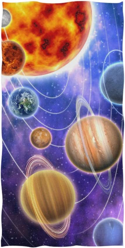 Naanle Solar System Planet Starry Night Galaxy Universe Soft Bath Towel Absorbent Hand Towels Multipurpose for Bathroom Hotel Gym and Spa 30