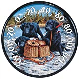 American Made Black Lab Puppies Dog Thermometer Large Round Dial in USA