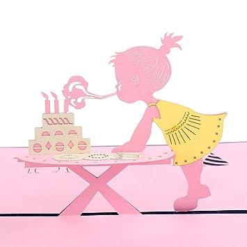 Paper Spiritz Happy Birthday Little Girl Pop Up Greeting Cards