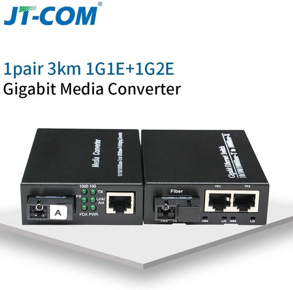 1pair 1G1E 20KM 1310//1550-nm 20 40KM Gigabit Media Converter Fiber to Rj45 Single mode Single Fiber Gigabit Ethernet Switch Transceiver 10//100//1000M SM