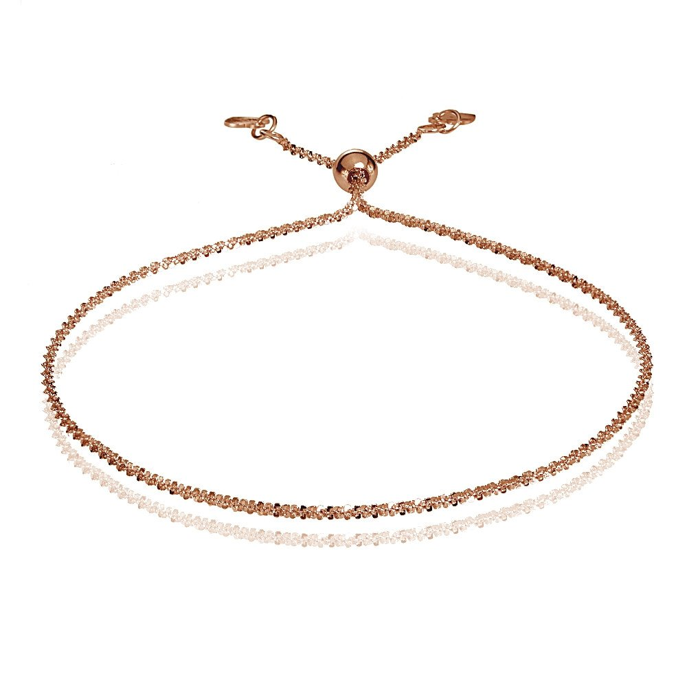 Bria Lou 14k Rose Gold 1.3mm Italian Rock Rope Adjustable Chain Bracelet, 7-9 Inches