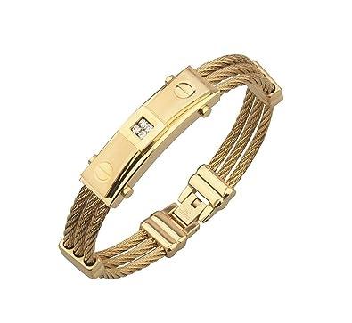 muy bonito estilo atractivo gama exclusiva Pulsera de Titanium Enchapada en Oro 2018 Men Fashion Stainless Steel Wire  Bracelets & Bangles For Men PL009