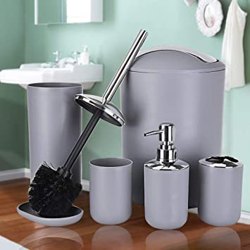 Grey Steel x2 Bathroom Toilet Brush /& Standing Holder Cleaning Set