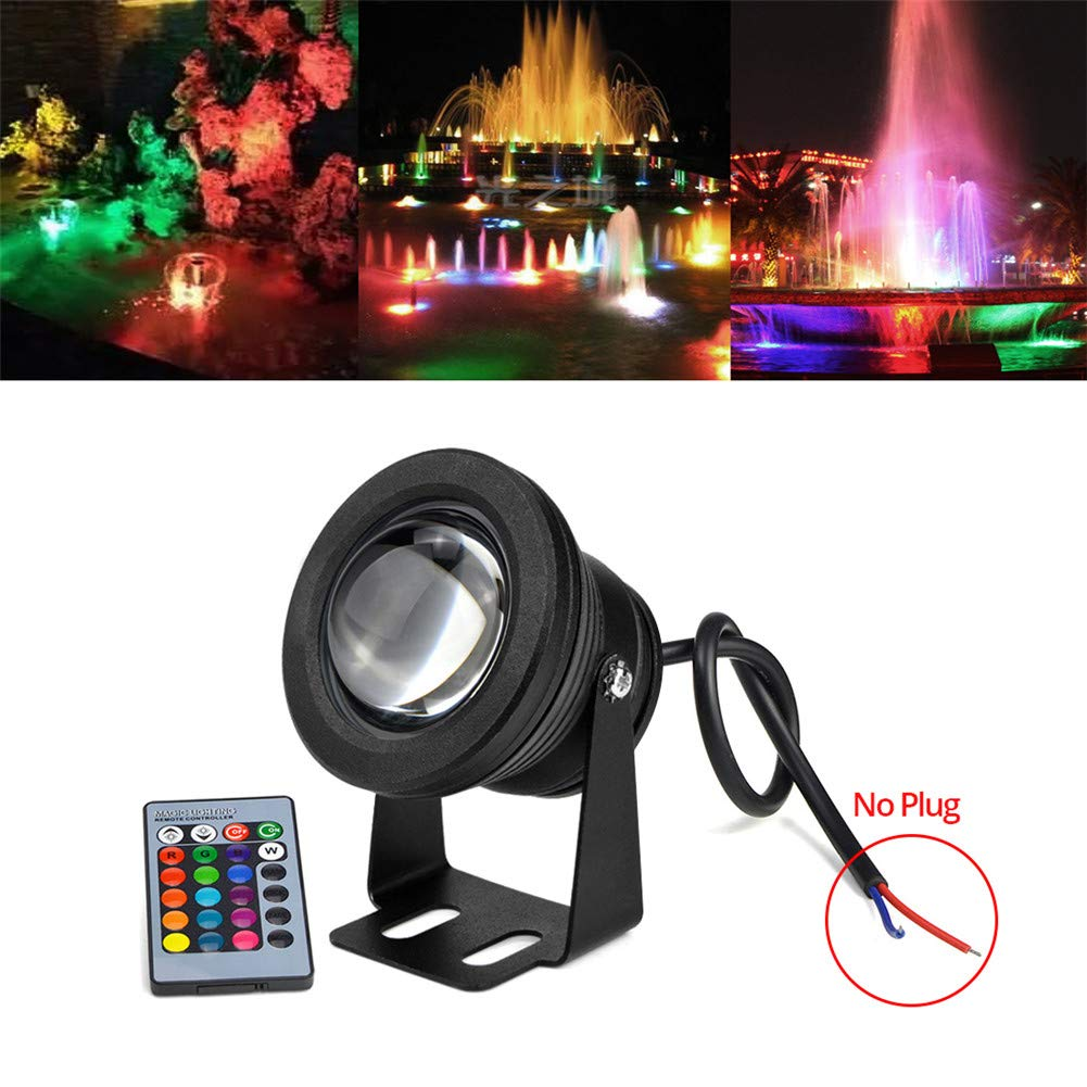 LED Underwater Pond Lights, 10W 12V 1000LM IP67 RGB Diving Fountain Light for Landscape Swimming Pool Pond Piscina Fish Tank Aquarium Car Spotlight Pool Light