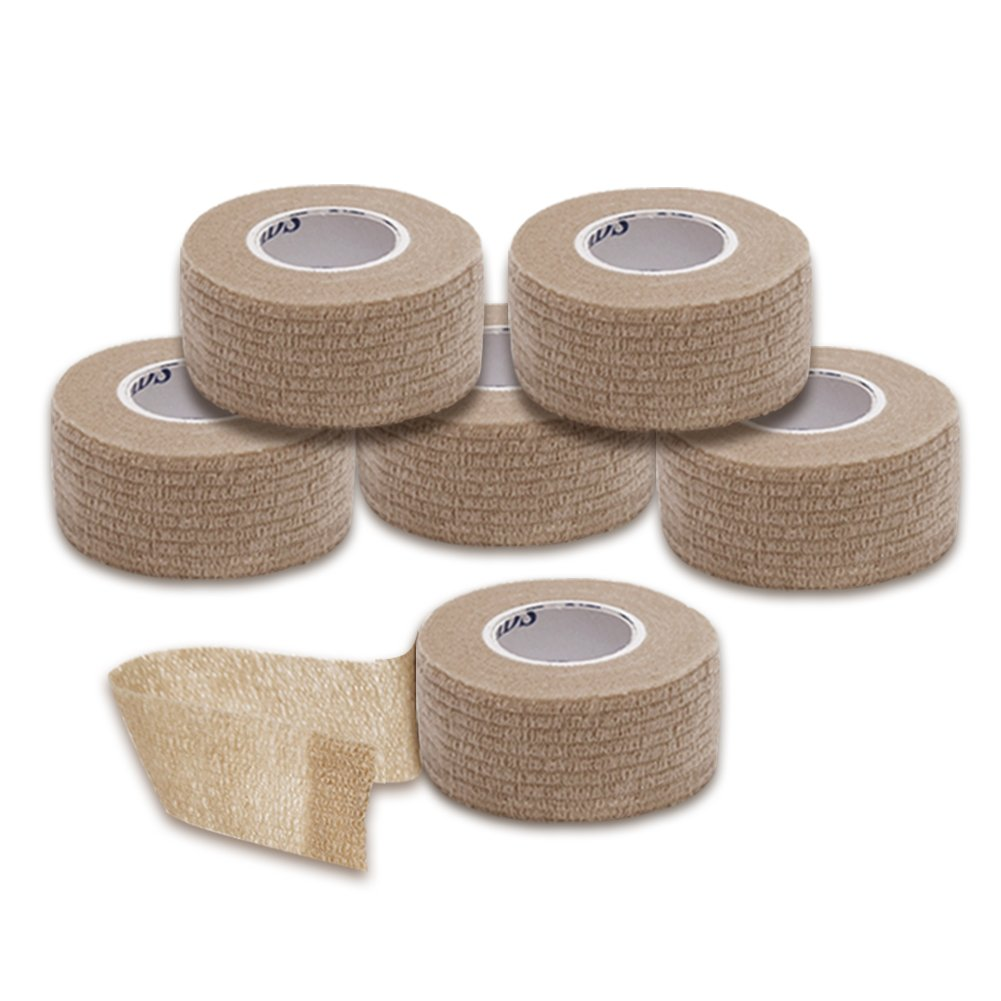 Syshion Self Adherent Cohesive Wrap Tape - 1 Inches X 6 Rolls - Non-woven Elastic Sports Finger Safety Bandage ( Skin Color)