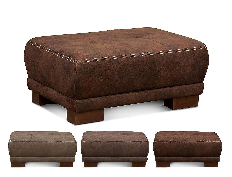Cavadore Sofahocker Cytaro in Wildlederoptik / Gepolsterter Hocker für Wohnzimmer mit moderner Kontrastnaht und Holzfüßen / Größe: 99 x 43 x 65 cm (BxHxT) / Bezugsstoff in dunkelbraun
