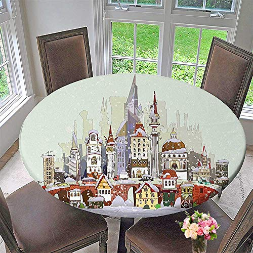 Mikihome Round Tablecloths in The City Xmas Background Yule Holiday Traditional Winter Scenery Pale Green Grey or Everyday Dinner, Parties 50