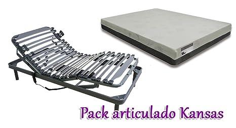 GrupoDiper - Pack Articulado Kansas, Colchón Viscoelástico + Somier Articulado Eléctrico 75X190
