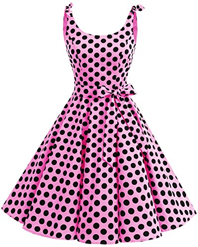Bbonlinedress 1950's Bowknot Vintage Retro Polka Dot Rockabilly Swing Dress Pink Black BDot XL ()