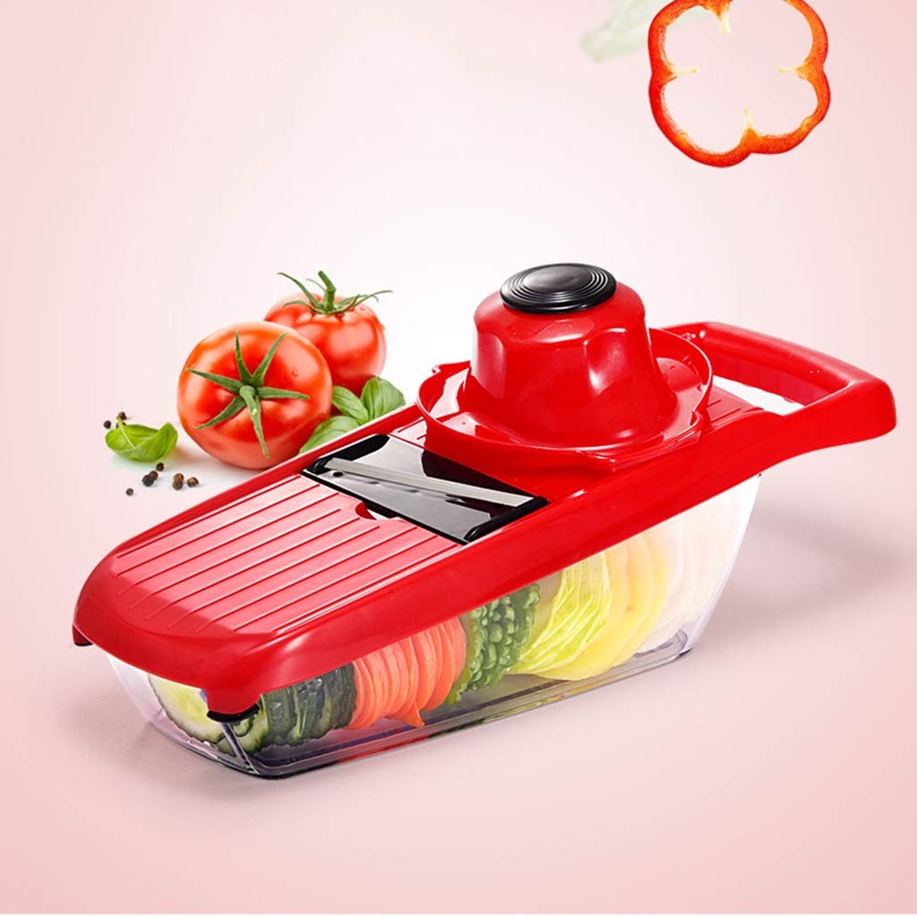 Vegetable Chopper, Food Slicer Dicing Machine 5 Interchangeable Blades Set With Food Container And Potato Tomato Onion Salad Fruit