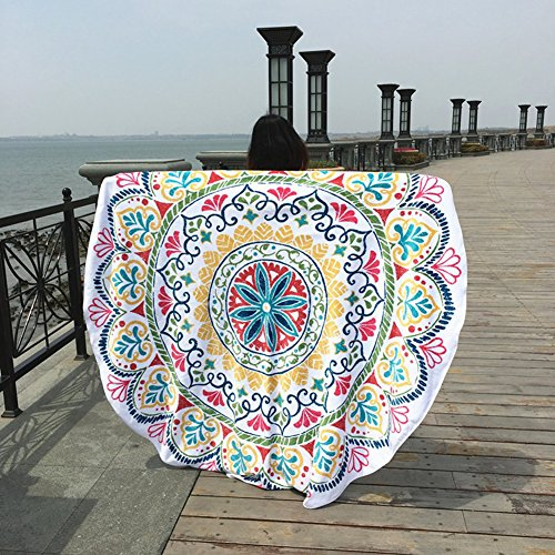 FLY SPRAY Indian Mandala Round Beach Throw Tapestry Polygon Print Shaped Hippy Gypsy Tablecloth Colorful Turban Blanket Shawl Psychedelic Vacation Picnic Mat (Best Buy To Place Curtains Inexpensive)