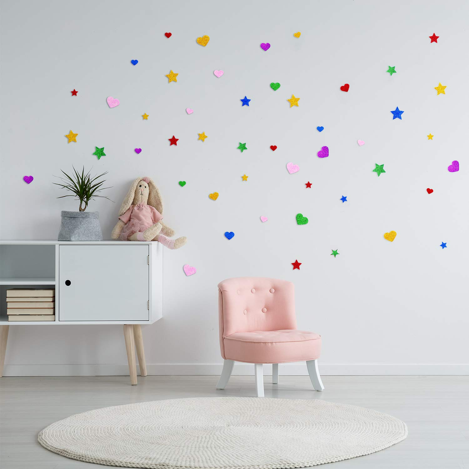 600 Pieces Kid/'s Arts Craft Supplies Kids Arts Craft Supplies 600 Pieces Tatuo Foam Glitter Stickers Foam Hearts Star Shapes Stickers Colorful Self Adhesive Foam Stickers for Mothers Day Cards