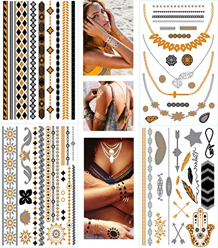 Premium Metallic Tattoos New Flash Craft Sticker Body Art - Necklace Armband...