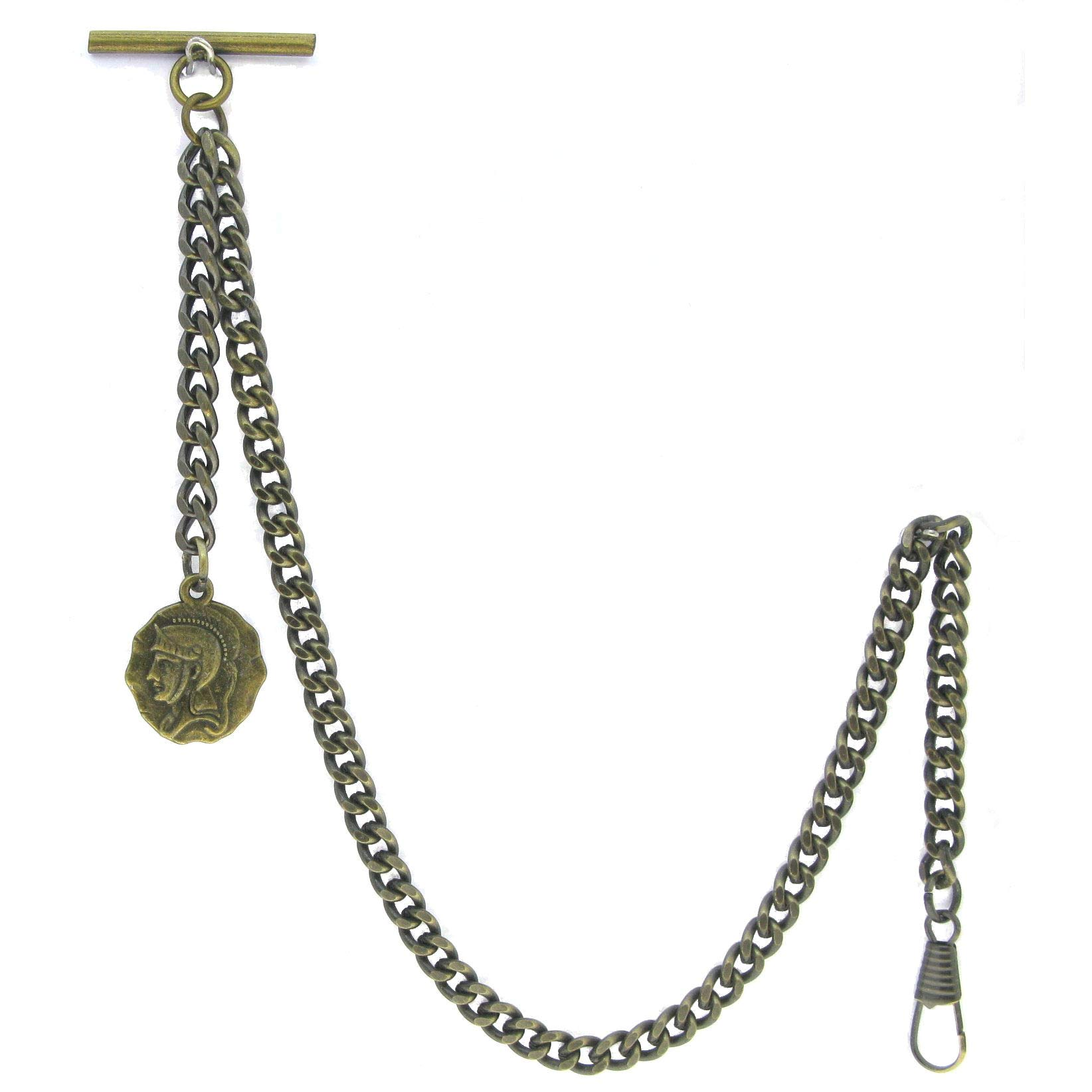 Albert Chain Pocket Watch Curb Link Chain Antique Brass Color Ancient Warrier Medal Fob T Bar AC92