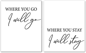 """Where You Go I Will Go Where You Stay I Will Stay Set Of 2 - Unframed,Wedding Sign Printable, Ruth 1 16, Bible Quote, Christian Quote, Scripture Wall Art, Printa (Where You Go I Will Go, 8"""" x 10"""")"""