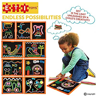 ETI Toys, 58 Piece Lace and Trace with Board. Draw House, Duck, Car, Trees, People, Sun and More. 100 Percent Safe, Fun, Creative Skills Development. Gift, Toy for 6, 7, 8 Year Old Boys and Girls: Toys & Games