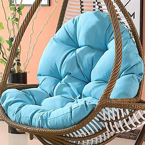 Tina's Wicker Rattan Hanging Egg Chair Pads,Non-Slip Soft Swing Chair Cushion Without Stand Indoor Balcony Pad Garden-Blue 120x86x15cm(47x34x6inch) (Chair Swings Rattan)