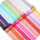BENECREAT 18 Yards Lace Fabric Stretch Elastic 1.57 inches Wide Trim Lace Headbands Garters Wedding Bouquet Making - 18 Colors 1 Yard Each