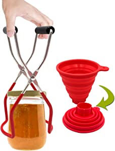 Canning Jar Lifter, Home Canning Supplies include Jar Lifter Tongs with Rubber Grips and Collapsible Silicone Wide-Mouth Funnel