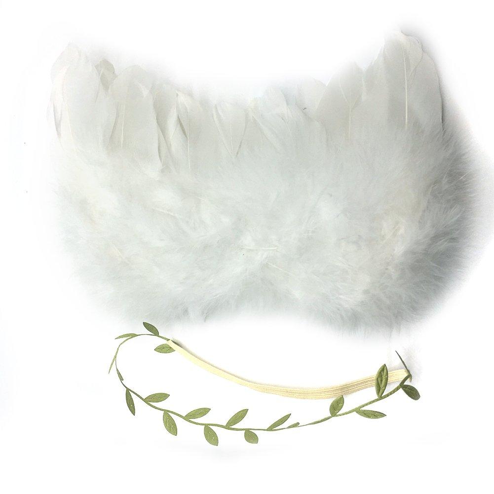 Taille unique Livecity Ailes dange Bandeau b/éb/é gar/çons filles Feuilles Forme Photographie D/écor Plume blanc