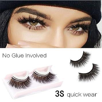 8814da5549c Amazon.com : 3D Self-Adhesive Lashes Makeup Reusable Strip Eyelashes Fur Fake  Eyelashes Hand-made False Eyelashes 1 Pair Package : Beauty