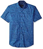 Bugatchi Men's Shaped Printed Cotton Spread Collar Short Sleeve Shirt, Royal, M