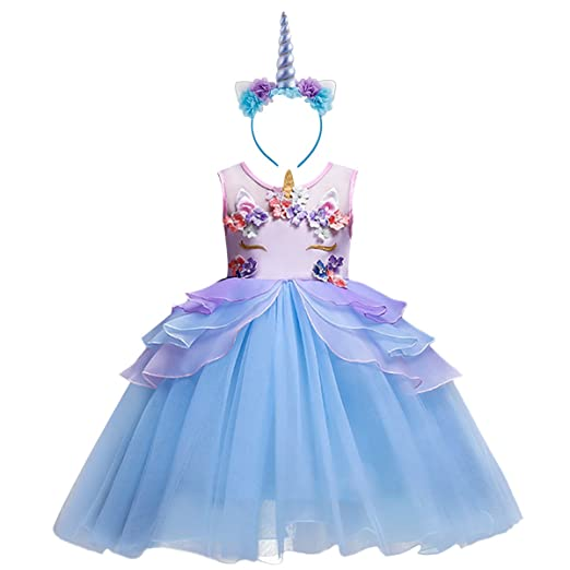 40d9e6332f Amazon.com: Girl Unicorn Costume Cosplay Fancy Dress Up Birthday ...