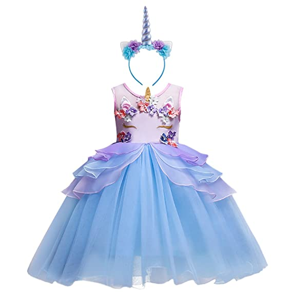 5632d18bfe6 Amazon.com: Girl Unicorn Costume Cosplay Fancy Dress Up Birthday Halloween  Party Outfit Kids Baby Princess Pageant Gown Tutu Skirt: Clothing