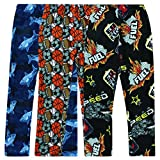 Boyz Club Pajama Bottoms for Boys - Pack of 3 - Balls, Fuel, Shark - Size 5/6
