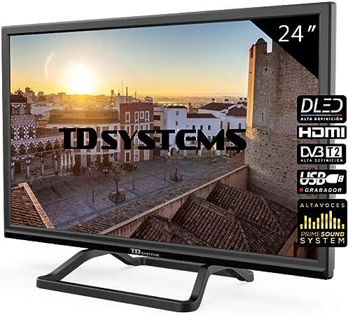 TD Systems Televisor LED HDMI, VGA, USB Grabador Reproductor, DVB-T2/C/S2 - K24DLM10H Negro 24 Pulgadas: Amazon.es: Electrónica