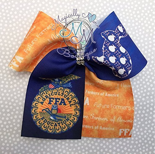 Cheer bow, FFA inspired, hair bow, Future Farmers of America, unique by Magically More