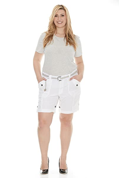 4f3509a0cd786 Suko Women s Cargo Bermuda Shorts Adjustable Length with Belt- Size 2-22  Plus at Amazon Women s Clothing store