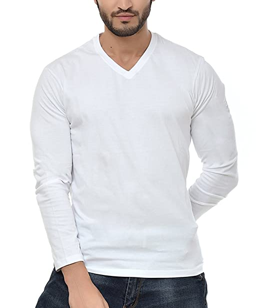 ff19f28549 NEEVOV Men's V- Neck Cotton White T-Shirt Full Sleeve-L: Amazon.in:  Clothing & Accessories