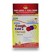 Lil' Giggles Kid's Cough, Cold & Throat Medicated Lollipops Variety Pack - for Children's Persistent Cough, Cold and Sore Throat. Homeopathic Remedy. The Medicine Kid's Will Love to take. 12 CT