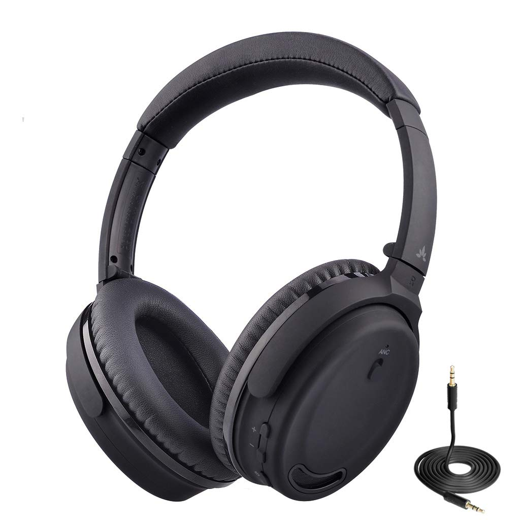 07e5a5fb181 Avantree ANC032 Active Noise Cancelling Bluetooth Headphones with Mic,  Wireless, Wired 2-in-1, Comfortable & Foldable Stereo ANC Over Ear Headset,  ...