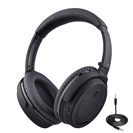 Avantree ANC032 Active Noise Cancelling Bluetooth Headphones with Mic,  Wireless, Wired 2-in-1, Comfortable & Foldable Stereo ANC Over Ear Headset,