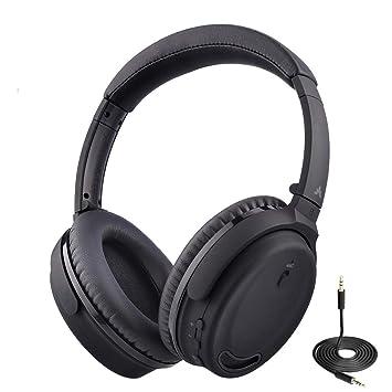 Avantree ANC032 Auriculares Bluetooth con Cancelación de Ruido Activo y Micrófono, opción Inalámbrica o por Cable, Cómodo y Plegable Estéreo ANC, ...