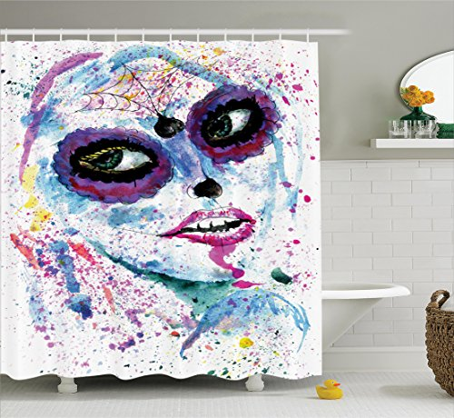 Ambesonne Girly Decor Shower Curtain Set, Grunge Halloween Lady With Sugar Skull Make Up Creepy Dead Face Gothic Woman Artsy Print, Bathroom Accessories, 69W X 70L Inches, Blue (Creepy Halloween Makeup Ideas For Women)