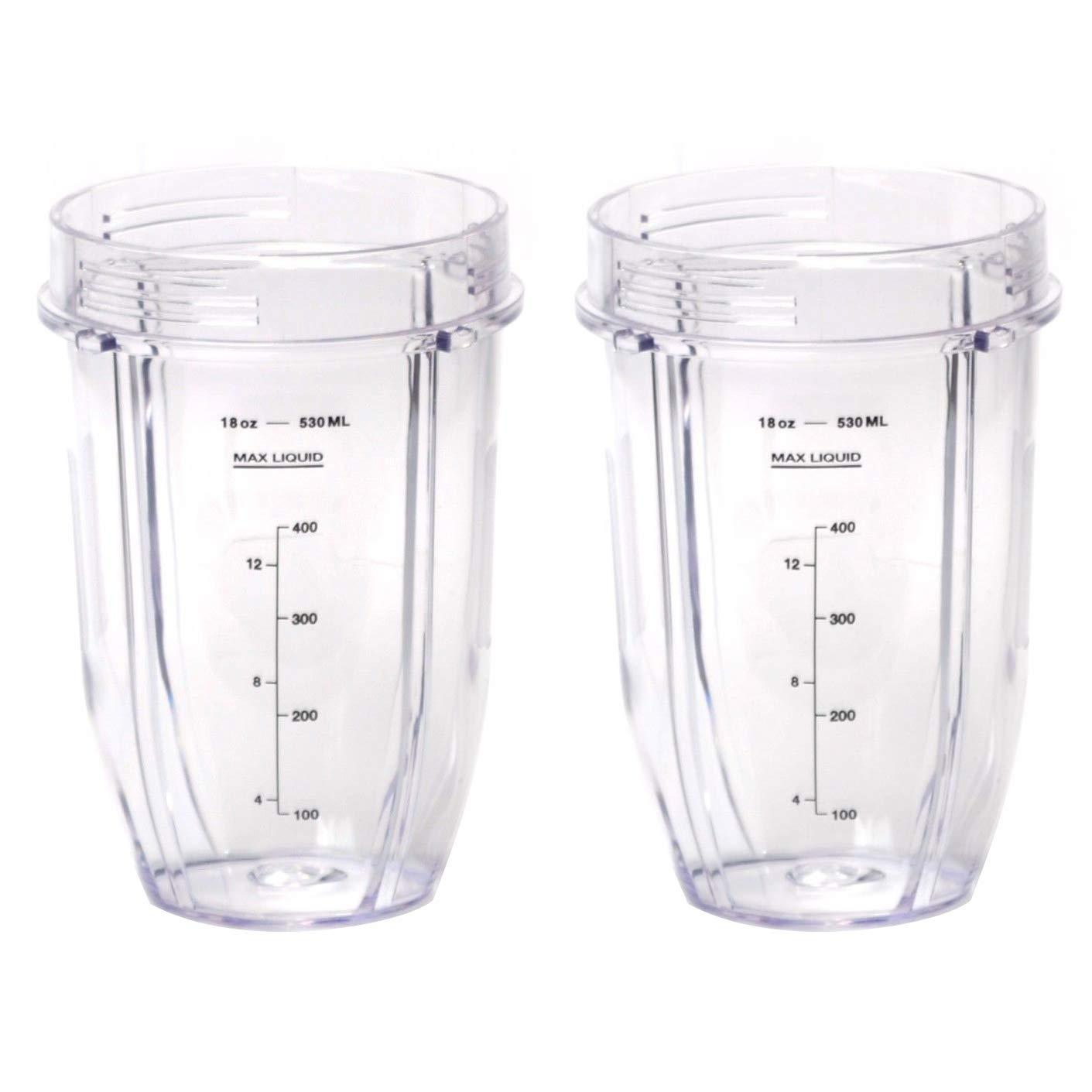 Nutri Ninja 18 oz Tritan Cups | Compatible with BL480, BL490, BL640, BL680 Auto IQ Series Blenders (Pack of 2)