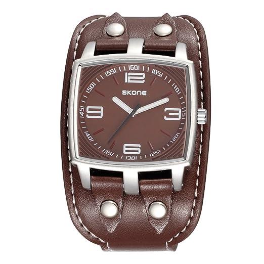 Moda Deportivo Cuff Watch Rectangular Correa Acrílicoha de Cuero PU Cuarzo Relojes de Pulsera para Hombres, Marrón: Amazon.es: Relojes